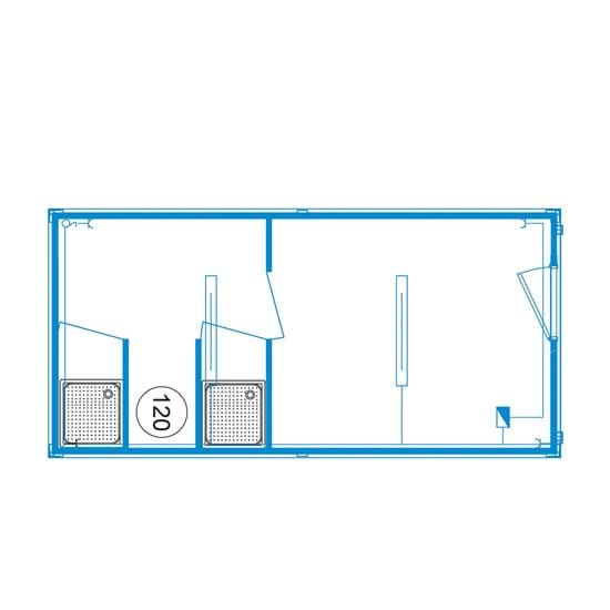 Special-line unit D01 - Shower / separate changing area